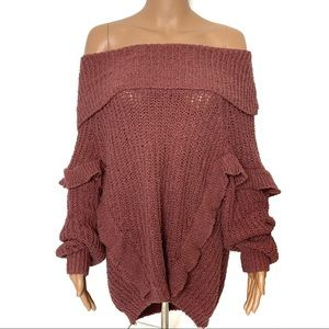 Express Rose Off the Shoulder Ruffle Sweater